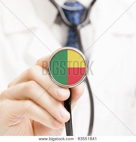 National Flag On Stethoscope Conceptual Series - Benin