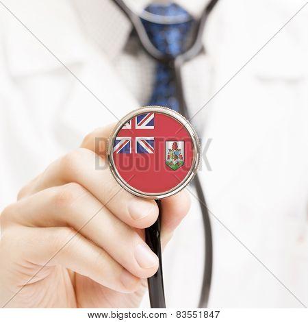 National Flag On Stethoscope Conceptual Series - Bermuda