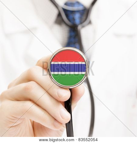 National Flag On Stethoscope Conceptual Series - Gambia