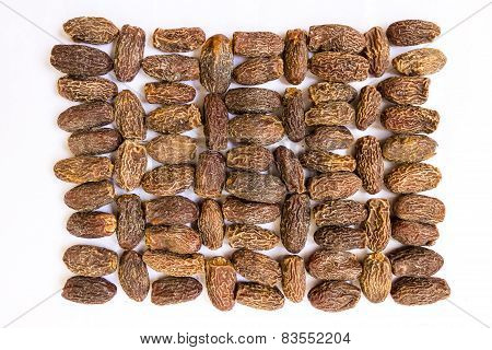 closeup view of dried Arabian dates background