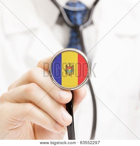 National Flag On Stethoscope Conceptual Series - Moldova
