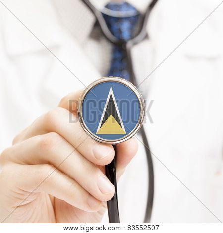 National Flag On Stethoscope Conceptual Series - Saint Lucia
