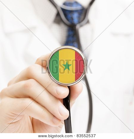 National Flag On Stethoscope Conceptual Series - Republic Of Senegal