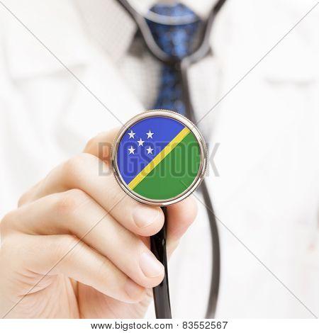 National Flag On Stethoscope Conceptual Series - Solomon Islands