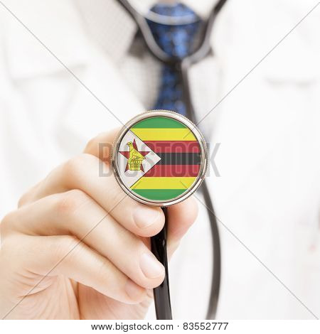 National Flag On Stethoscope Conceptual Series - Zimbabwe