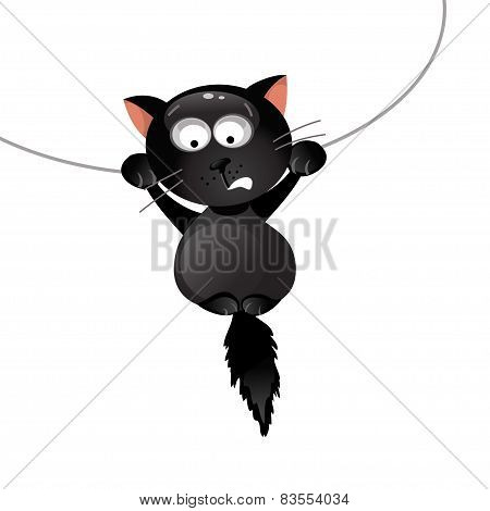 Funny Black Cat. Vector Illustration