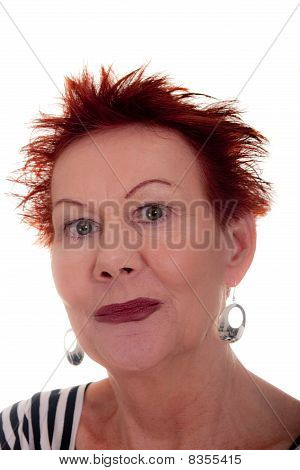 Older Woman With Wild Red Hair Closeup