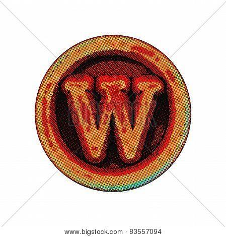 Grunge Font - Letter W