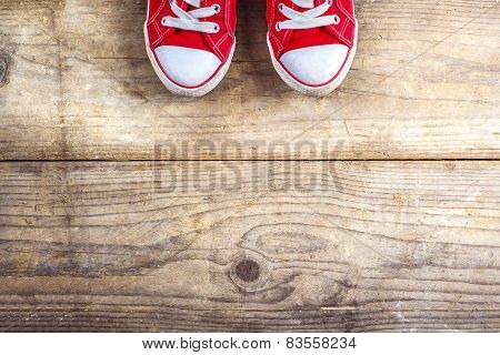 Sneakers on a wooden floor