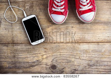 Sneakers and phone