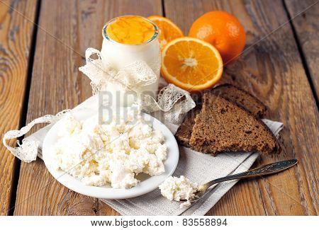 Breakfast Time (homemade Yogurt, Cottage Cheese, Orange Jam, Rye Bread)