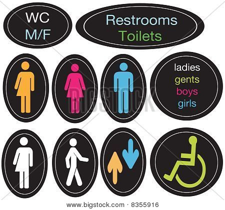 Editable Restroom Sign Set