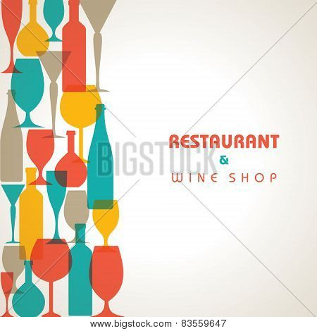 Abstract retro cocktail glass and bottle background stock vector