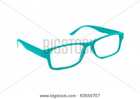 Turquoise Eye Glasses Isolated On White Shallow Depth Of Field And Soft Focus