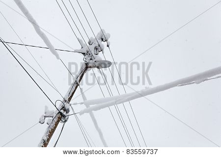 Frozen Electric Power Pole