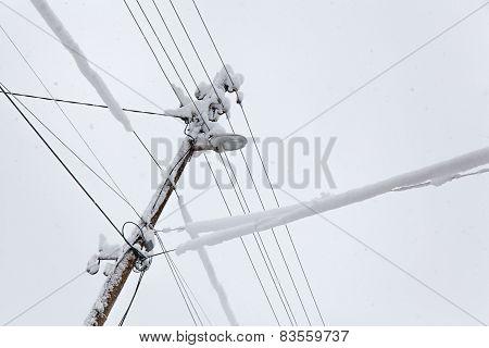 Frozen Electric Power Pole