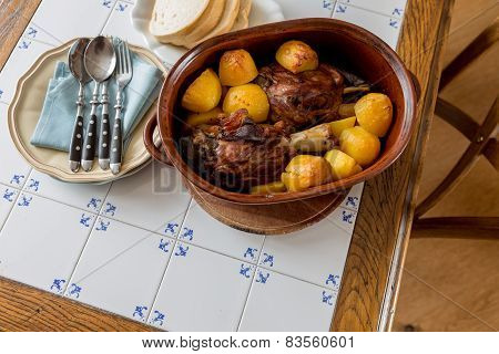 Served Roasted Meat In A Crock