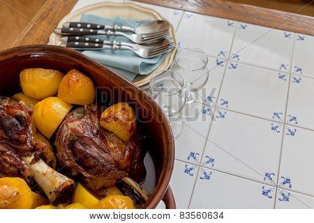 Closeup Of Roasted Pork Knuckle