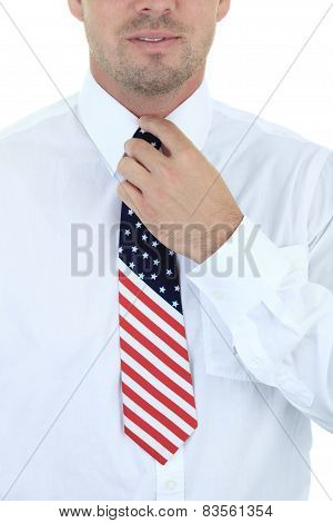 close up of a tie on white background
