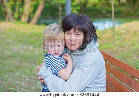 Grandmother With Her Grandson One Family