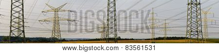 panorama of many electric pylons