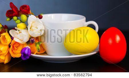 Easter Eggs And Freesia
