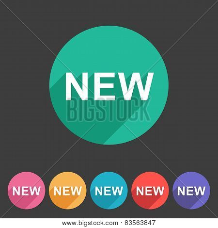 New badge flat icon sign set symbol