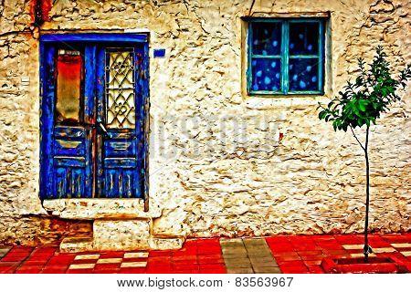 Digital Painting Of A Turkish Village Street Scene