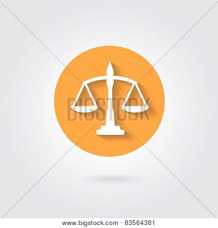 Vector scales balance icon in flat style. White silhouette on orange circle