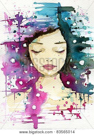 woman watercolor