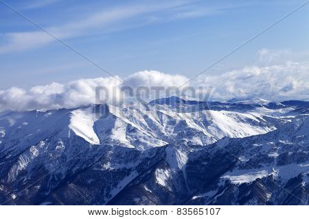 Sunlight Snowy Mountains At Nice Day