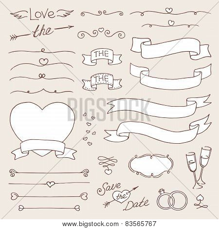 Vector Wedding Vintage Set Of Design Elements. Black And White Isolated Template