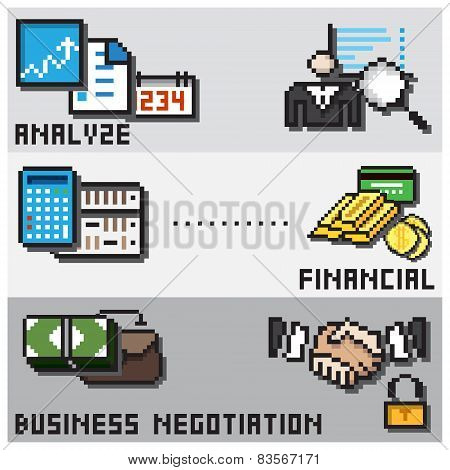 Digital Pixel Financial Design Concept
