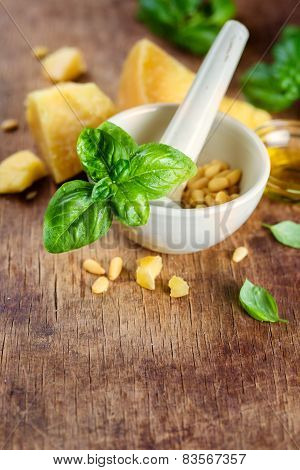Italian food, ingredients for pesto