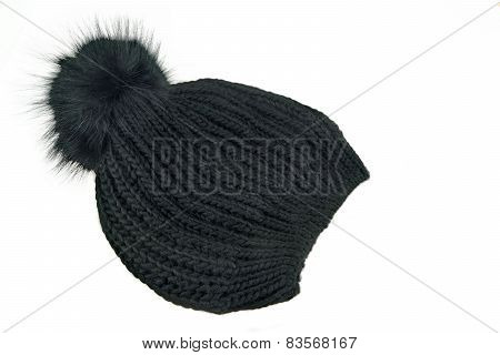Black Knitted Wool Winter Ski Hat With Pom Pom