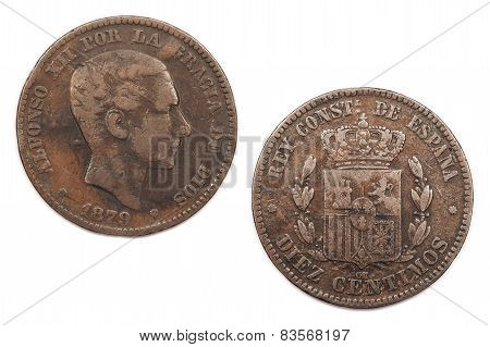 Diez Centimos coin from Spain 1879