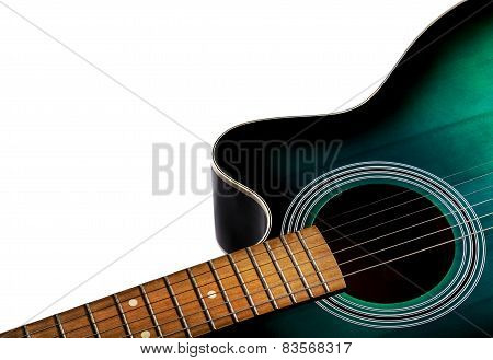 Part Of The Acoustic Guitar, Black And Green Color Isolated On A White