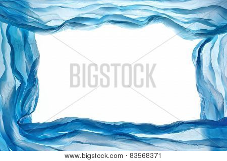 Abstract  Blue Fabric  Chiffon Frame Design Element Textured Background