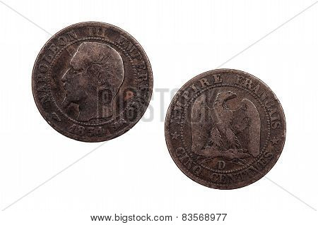 Napoleon III Five Centimes 1854
