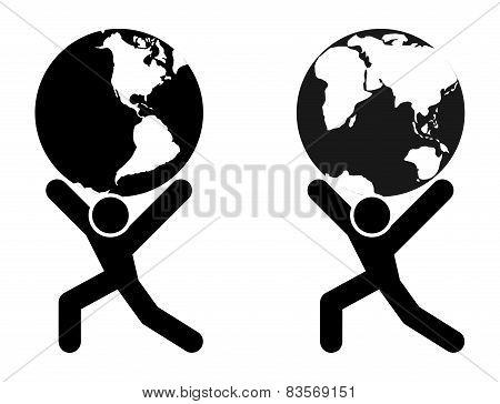 Globe Holding Man