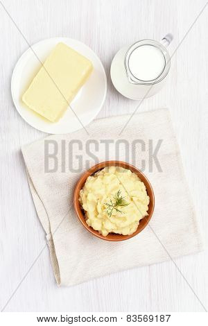 Mashed Potato, Jug Of Milk And Butter