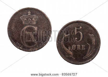 Five Ore coin Denmark 1882