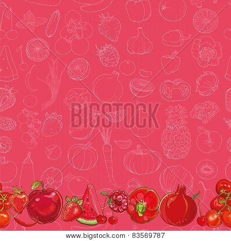 Set Of Red Fruits And Vegetables On Light Red Seamless Vector Background
