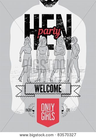 Typographic poster for hen party with pretty girls. Vector illustration.