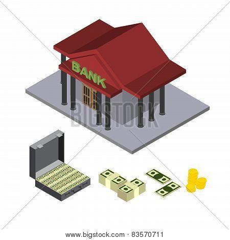 bank  isometric icons