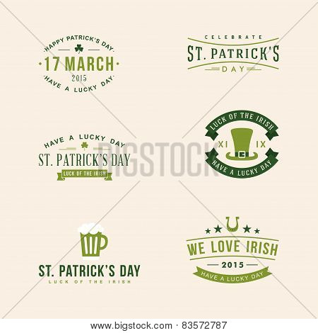 Set Of St. Patricks Day Card Design. Vintage Holiday Badge Design