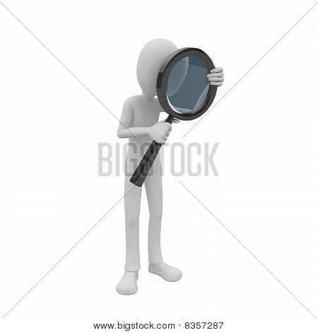 3D Man Searching With Magnifying Glass