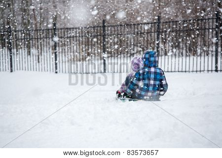 Children Sledding in Winter Snowfall