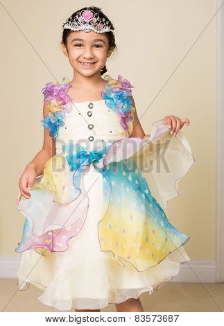 Little Girl Dressed Up In A Princess Costume