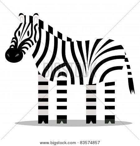 Vector Cartoon Zebra Isolated On Blank Background